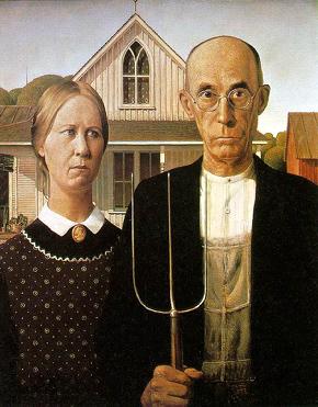 """Obraz Granta Wooda """"American Gothic"""" vzbudil po svém prvním vystavení v roce 1930 vášně. Později se stal nejznámějším a nejčastěji parodovaným americkým obrazem. Najdete jej ve sbírkách The Art Institute of Chicago."""