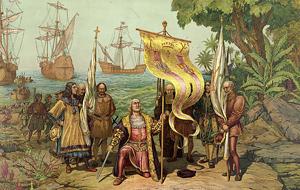 Kryštof Kolumbus vstupuje na americkou půdu, 1893, Library of Congress
