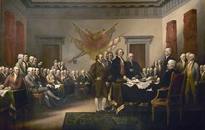 Prohlášení nezávislosti, John Trumbull, 1819. Obraz znázorňuje pětici předkladatelů Prohlášení nezávislosti (zleva John Adams, Roger Sherman, Robert Livingston, Thomas Jefferson a Benjamin Franklin)