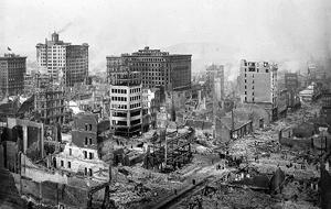 San Francisko po zemětřesení: ruiny Post a Grant Avenue, foto Chadwick, H. D.