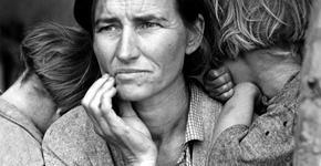 """Fotografie známá jako """"Migrující matka"""" je jedna ze série fotografií"""