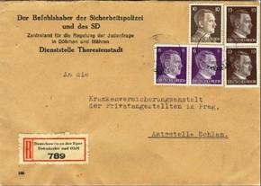 Obálka doporučeného dopisu Ústředny pro vystěhovalectví Židů v Praze, služebna Terezín (foto Exponet.info)