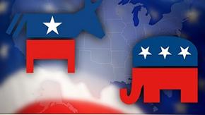 Souboj osla (demokrata) se slonem (republikánem)